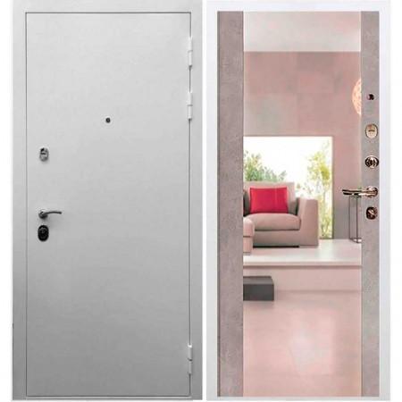 Входная дверь REX 5А Белая шагрень Сб -16 Бетон темный (с зеркалом )