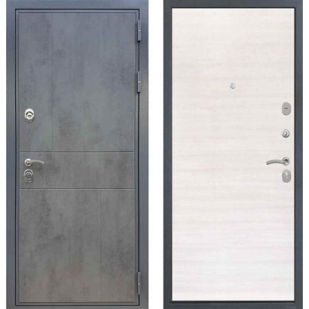 Входная дверь REX 290 Темный бетон / Гладкая Акация светлая поперечная