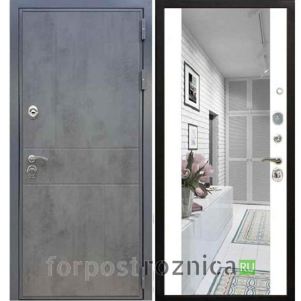 Входная дверь REX Премиум 290 Темный бетон / СБ-16 Белый ясень (с зеркалом)