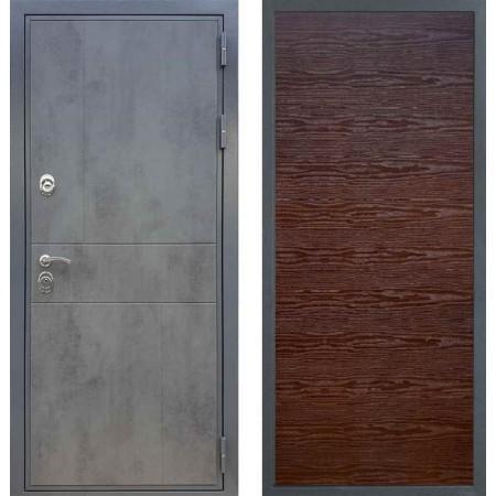 Входная дверь REX 290 Темный бетон / Гладкая Венге поперечный