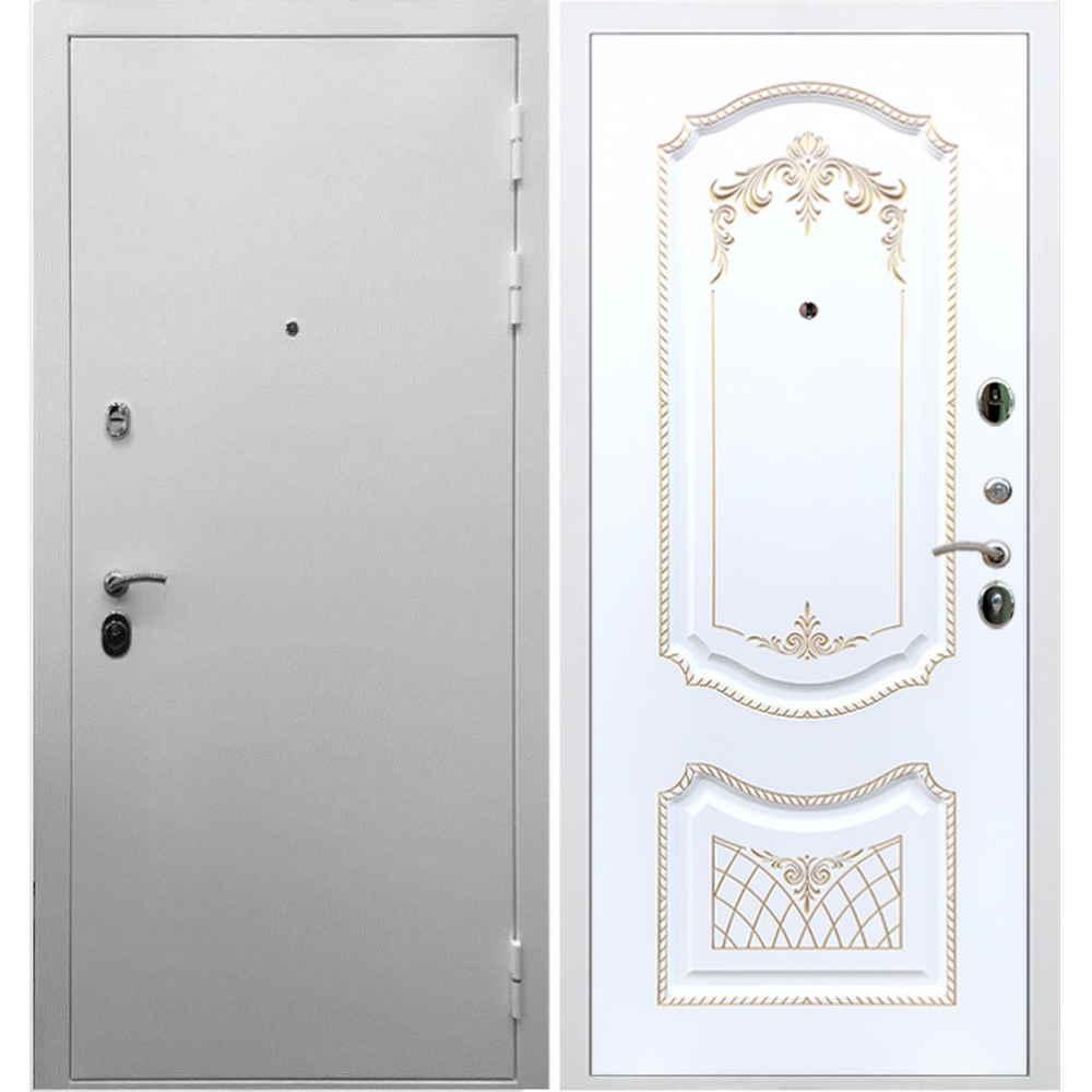 Входная дверь REX 5А Белая шагрень / ФЛ-317 Эмаль патина золото