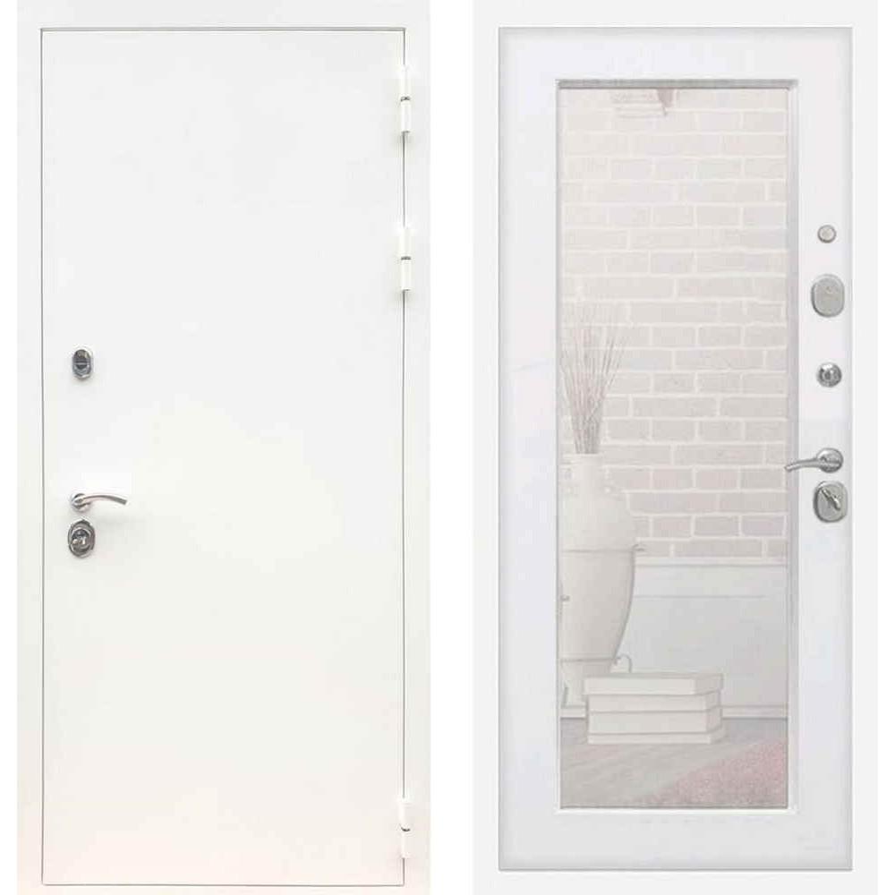 Входная дверь REX 5А Белая шагрень / Пастораль Силк сноу (с зеркалом)