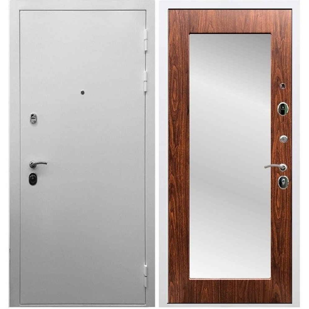 Входная дверь REX 5А Белая шагрень / Пастораль Береза мореная (с зеркалом)