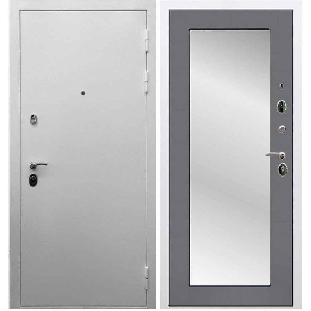 Входная дверь REX 5А Белая шагрень / Пастораль Графит софт (с зеркалом)