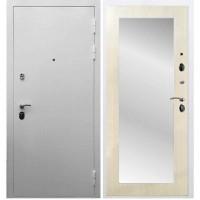 Входная дверь REX 5А Белая шагрень / Пастораль Лиственница бежевая (с зеркалом)
