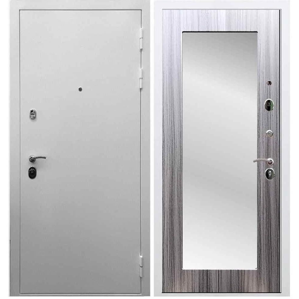 Входная дверь REX 5А Белая шагрень / Пастораль Сандал серый (с зеркалом)