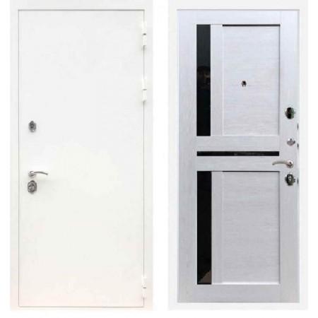 Входная дверь REX 5А Белая шагрень / СБ-18 Лиственница бежевая стекла черные лакобель