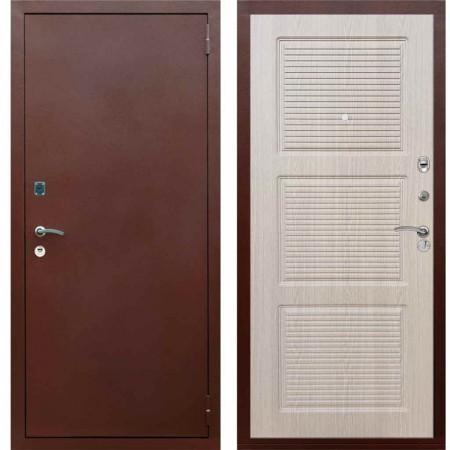 Входная дверь Рекс 1A Медный антик ФЛ 1 Беленый дуб