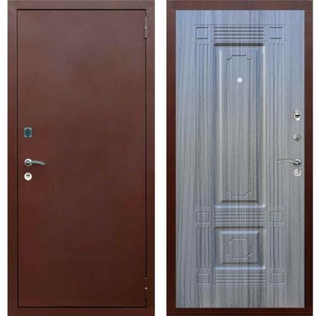 Входная металлическая дверь Рекс 1A Медный антик ФЛ 2 Сандал серый