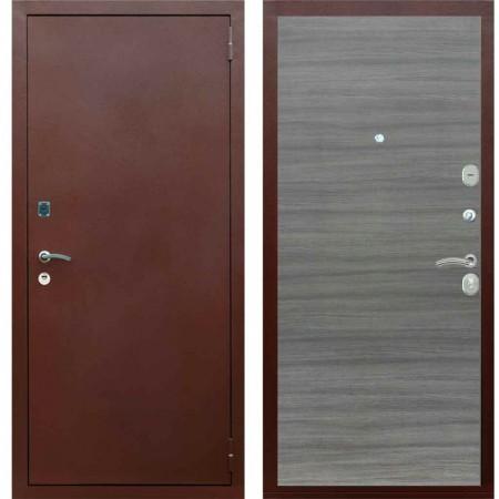 Входная дверь Рекс 1A Медный антик Гладкая цвет Сандал серый