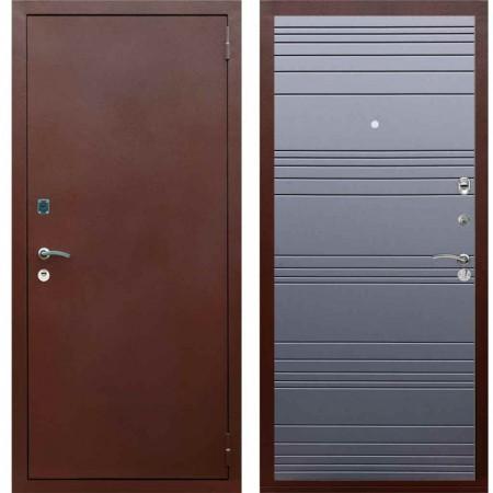 Входная металлическая дверь Рекс 1A Медный антик Line Силк титан