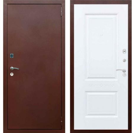 Входная металлическая дверь Рекс 1A Медный антик Смальта 04 Силк сноу