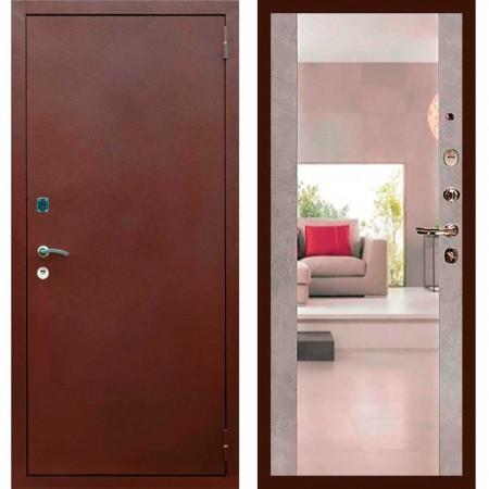 Входная дверь Рекс 1A Медный антик СБ-16 Бетон темный ( с зеркалом )
