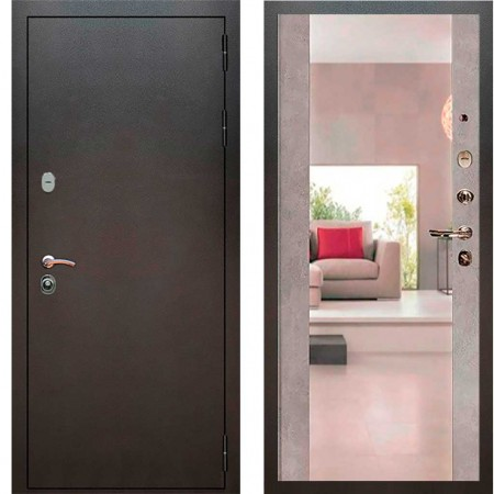Входная дверь Рекс 5А Серебро антик Сб -16 Бетон темный (с зеркалом )