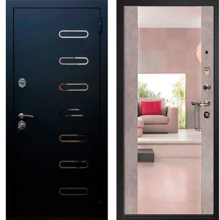 Входная металлическая дверь Рекс Понте Чёрный муар Сб -16 Бетон темный (с зеркалом )