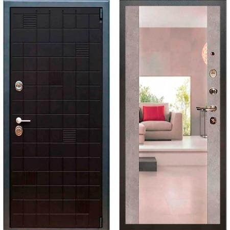 Дверь Рекс 12 Тетрис Сб -16 Бетон темный ( с зеркалом )
