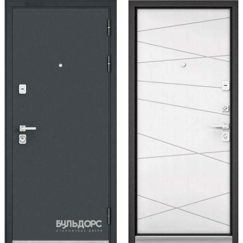 Входная дверь Бульдорс Premium 90 Черный шелк / Белый софт (Трехконтурные)