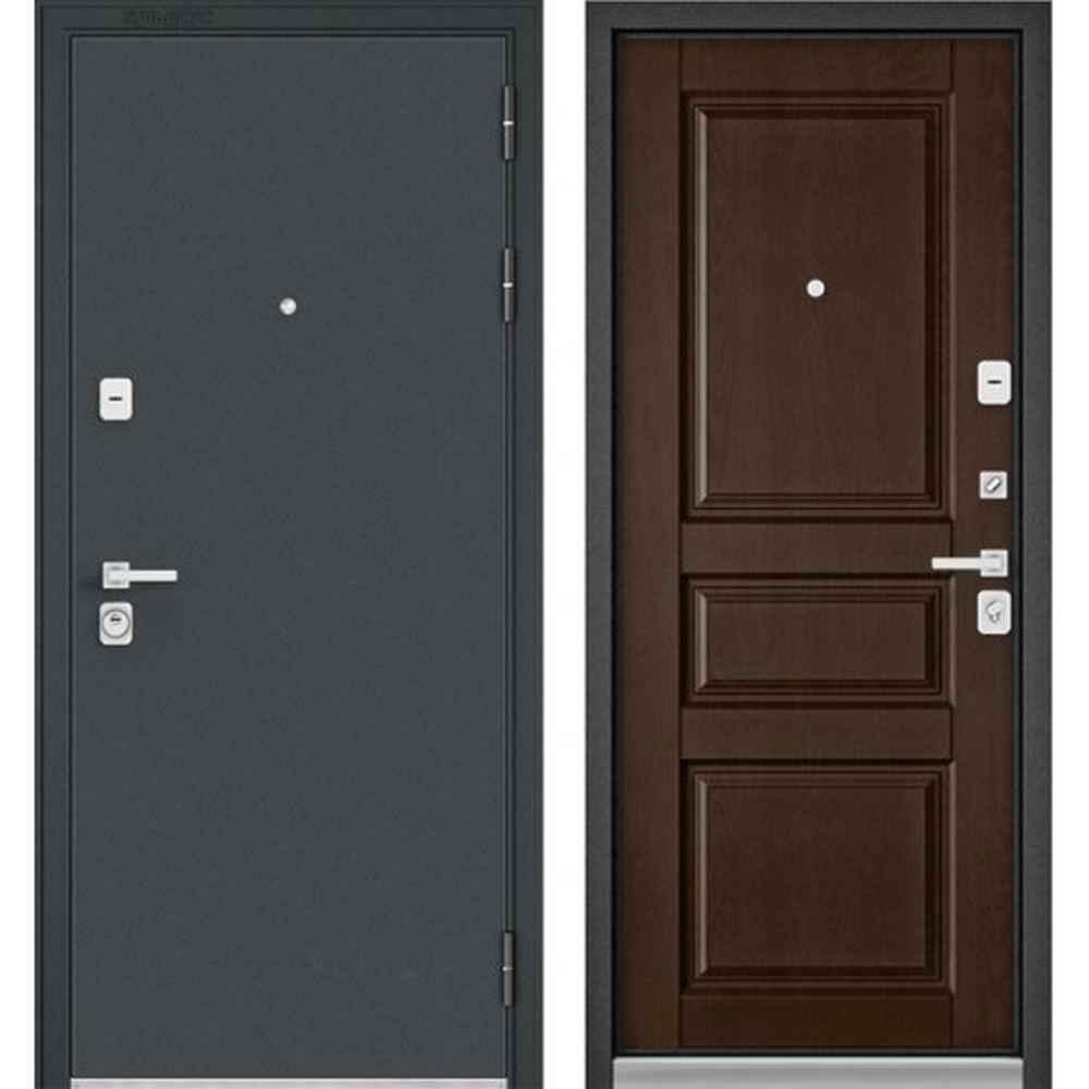 Входная дверь Бульдорс Premium 90 Черный шелк / Дуб коньяк (Трехконтурные)