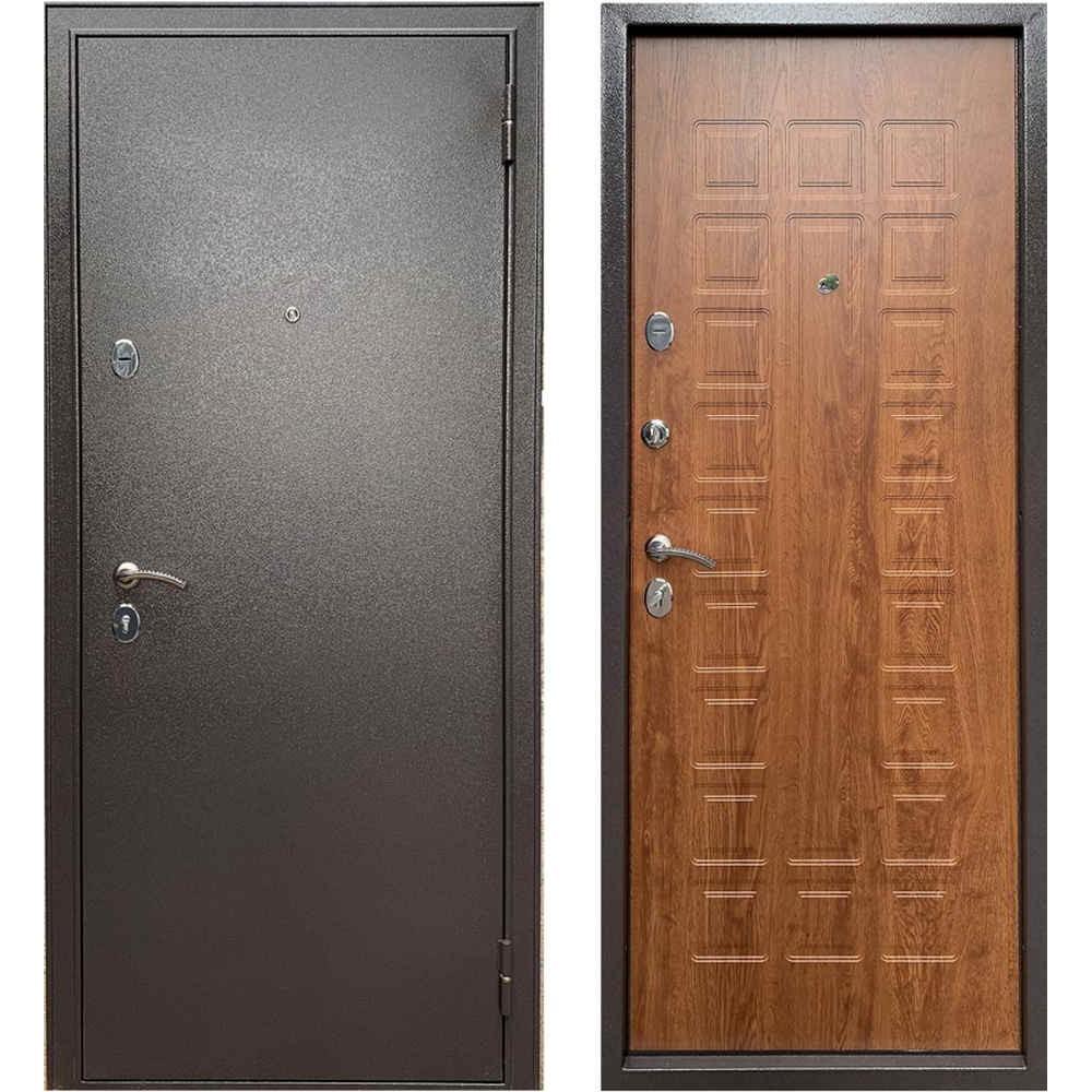 Входная железная дверь в квартиру Бульдорс Эконом-3 Дуб Золотой (Антивандальные)