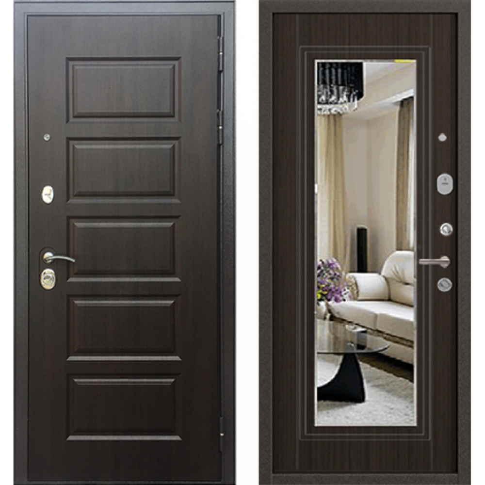 Входная дверь Бульдорс MASS 90 PP Ларче шоколад (с зеркалом)