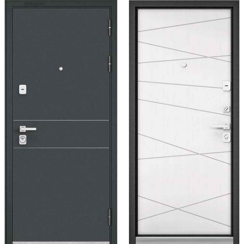 Входная дверь Бульдорс Premium 90 Черный шелк D-14 / Белый софт (Трехконтурные)