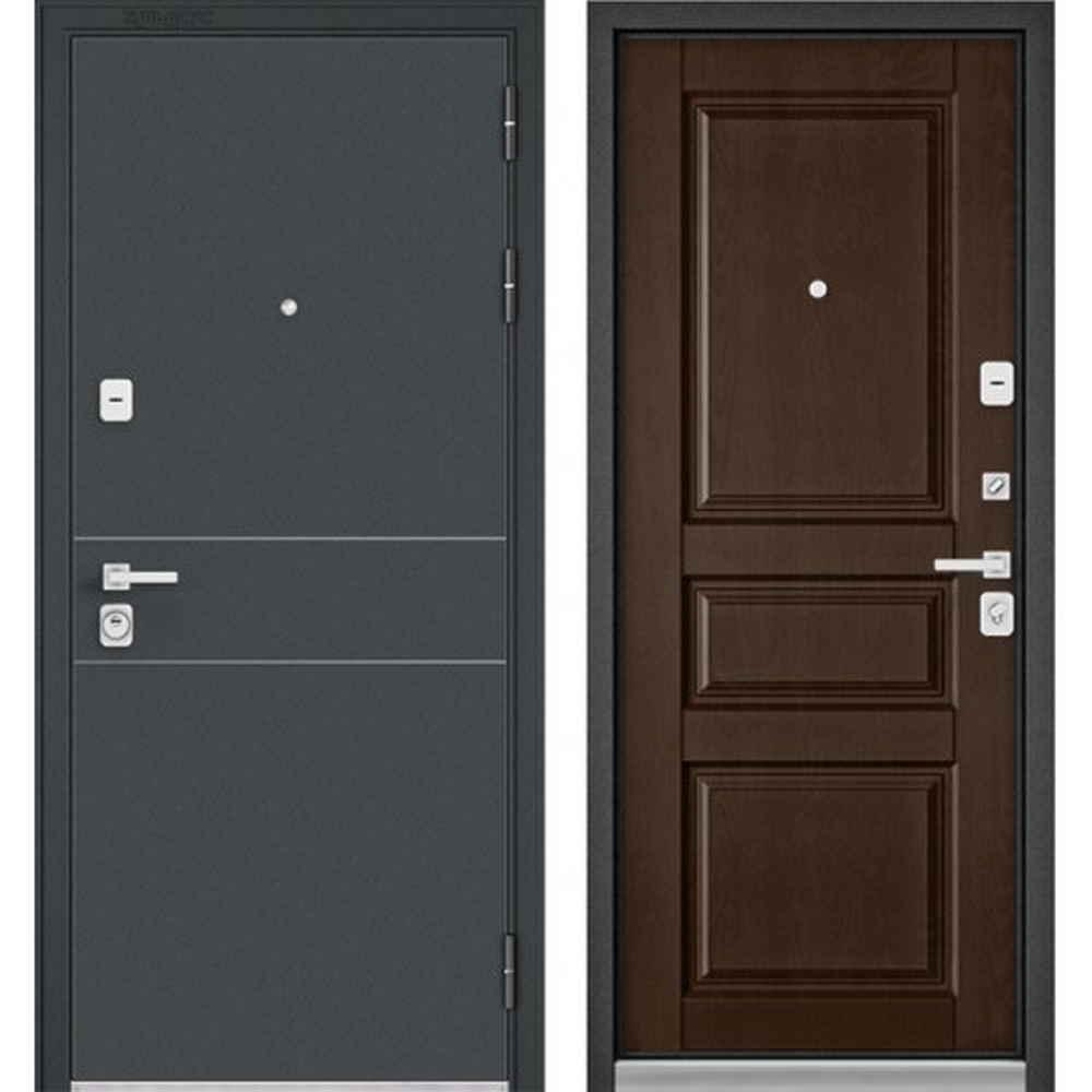 Входная дверь Бульдорс Premium 90 Черный шелк D-14 / Дуб коньяк (Трехконтурные)