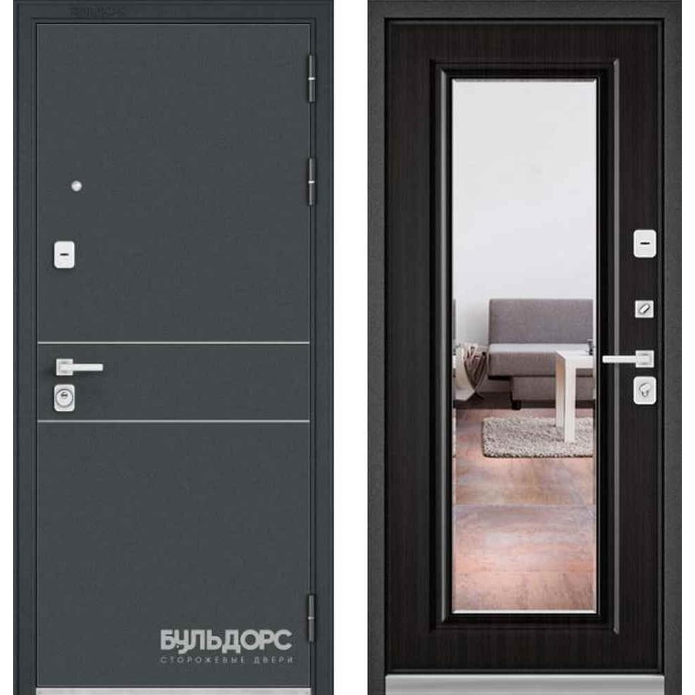 Входная дверь Бульдорс Premium 90 Черный шелк D-14 / Ларче темный (с зеркалом)