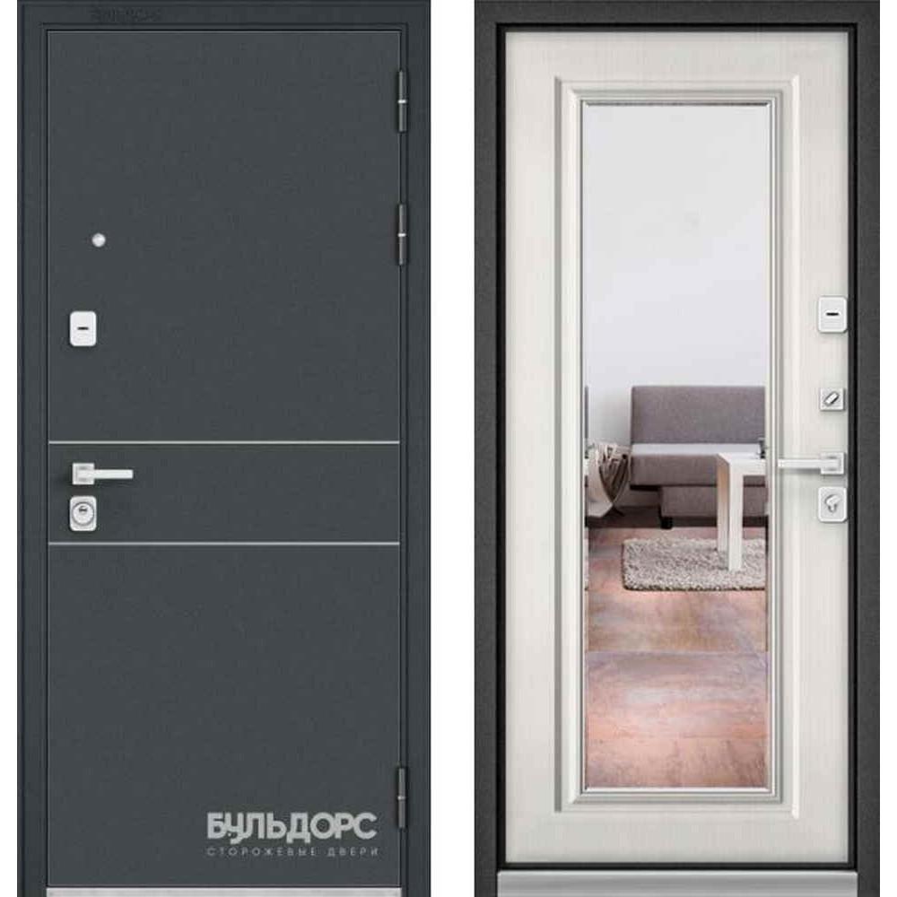 Входная дверь Бульдорс Premium 90 Черный шелк D-14 / Шамбори светлый (с зеркалом)