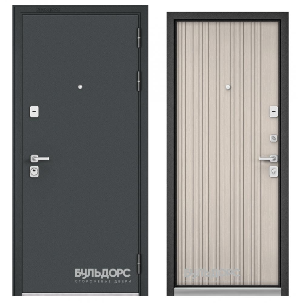 Входная дверь Бульдорс Premium 90 Черный шелк / Ларче бьянко (Трехконтурные)