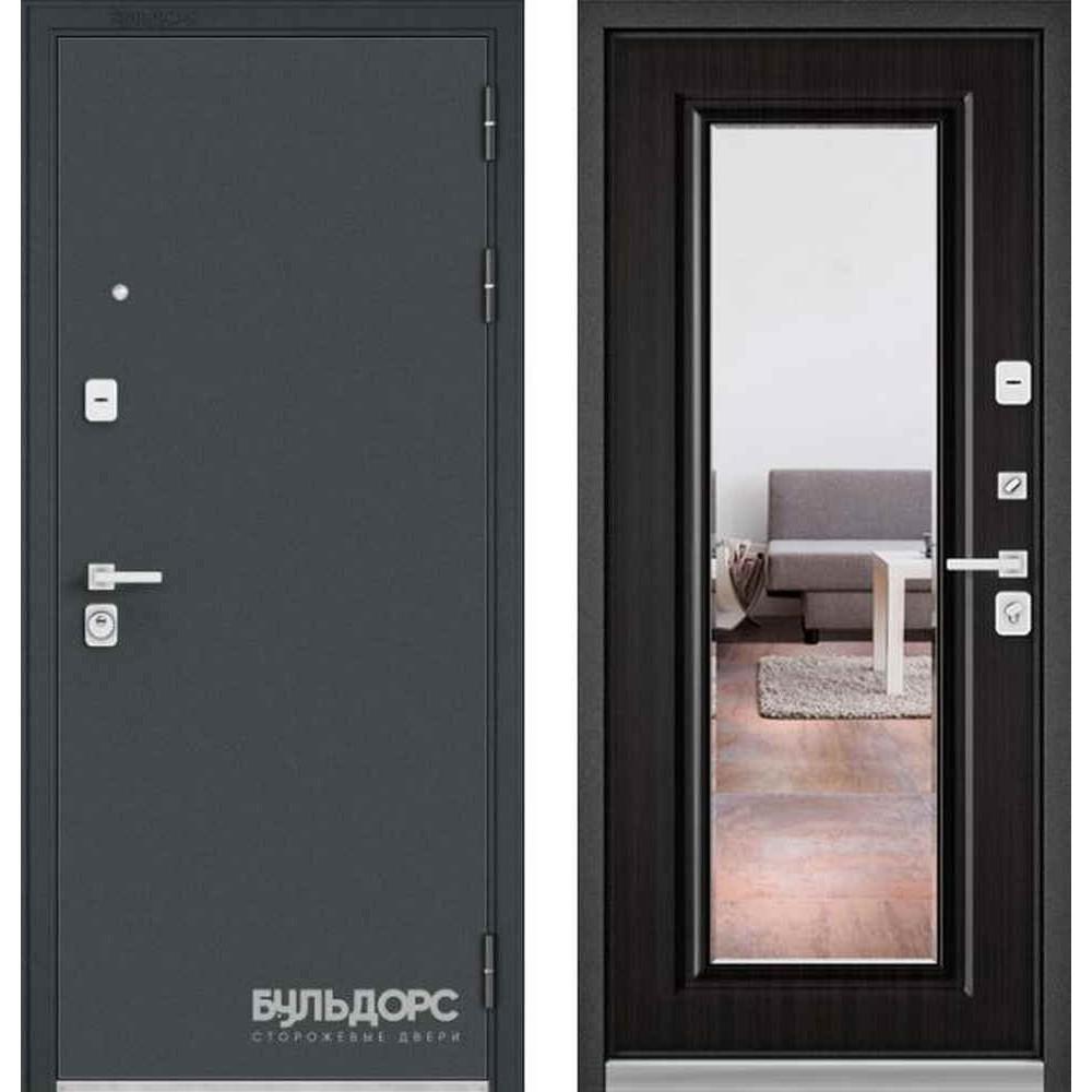 Входная дверь Бульдорс Premium 90 Черный шелк / Ларче темный (с зеркалом)