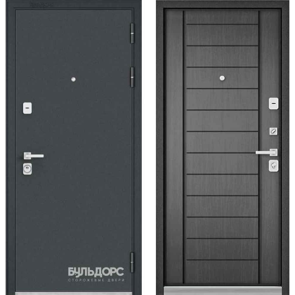 Входная дверь Бульдорс Premium 90 Черный шелк / Серый (Трехконтурные)