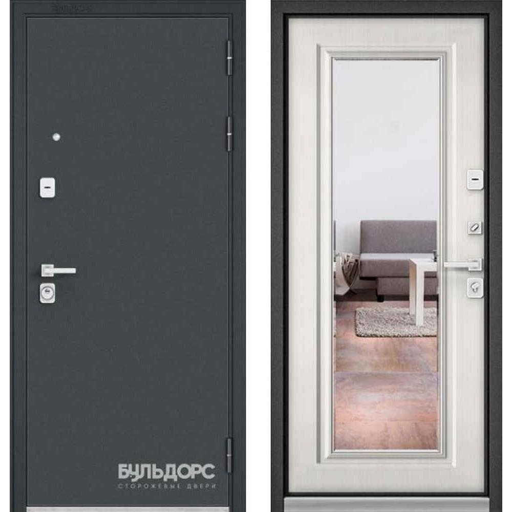 Входная дверь Бульдорс Premium 90 Черный шелк / Шамбори светлый (с зеркалом)