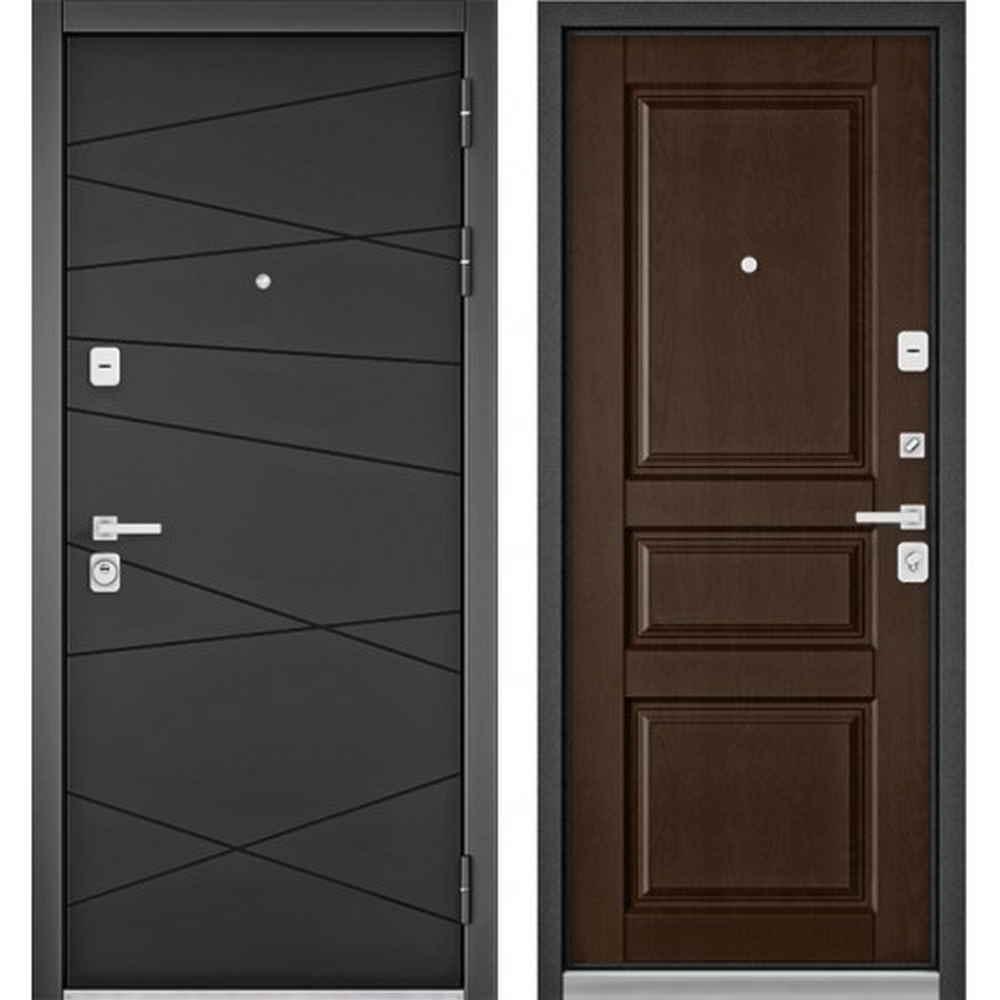 Входная дверь Бульдорс Premium 90 РР Графит софт / Дуб коньяк (с шумоизоляцией)