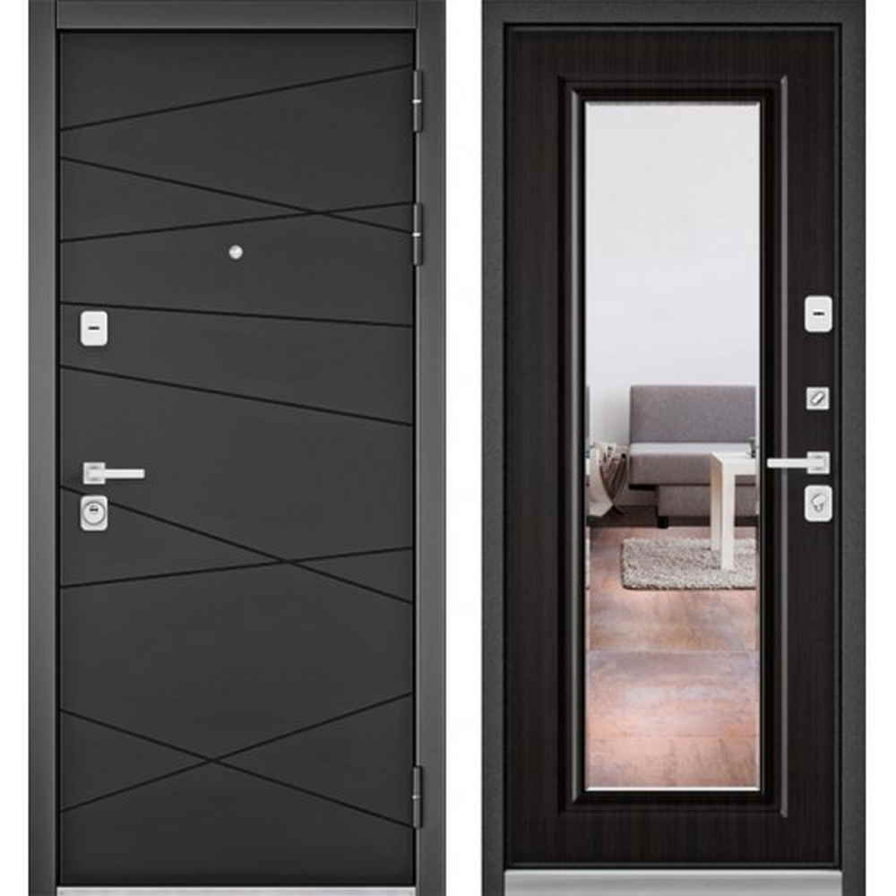 Входная дверь Бульдорс Premium 90 РР Графит софт / Ларче темный-9S (с зеркалом)