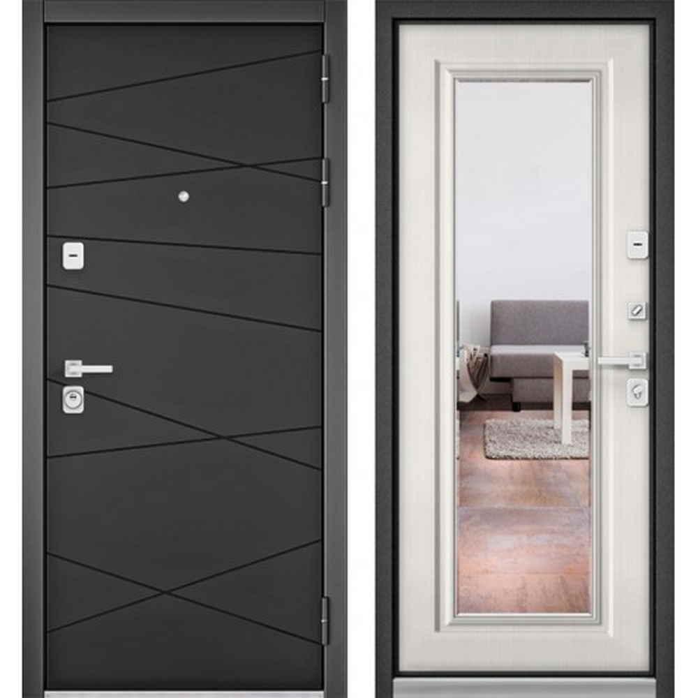 Входная дверь Бульдорс Premium 90 РР Графит софт / Шамбори светлый 9S (с зеркалом)