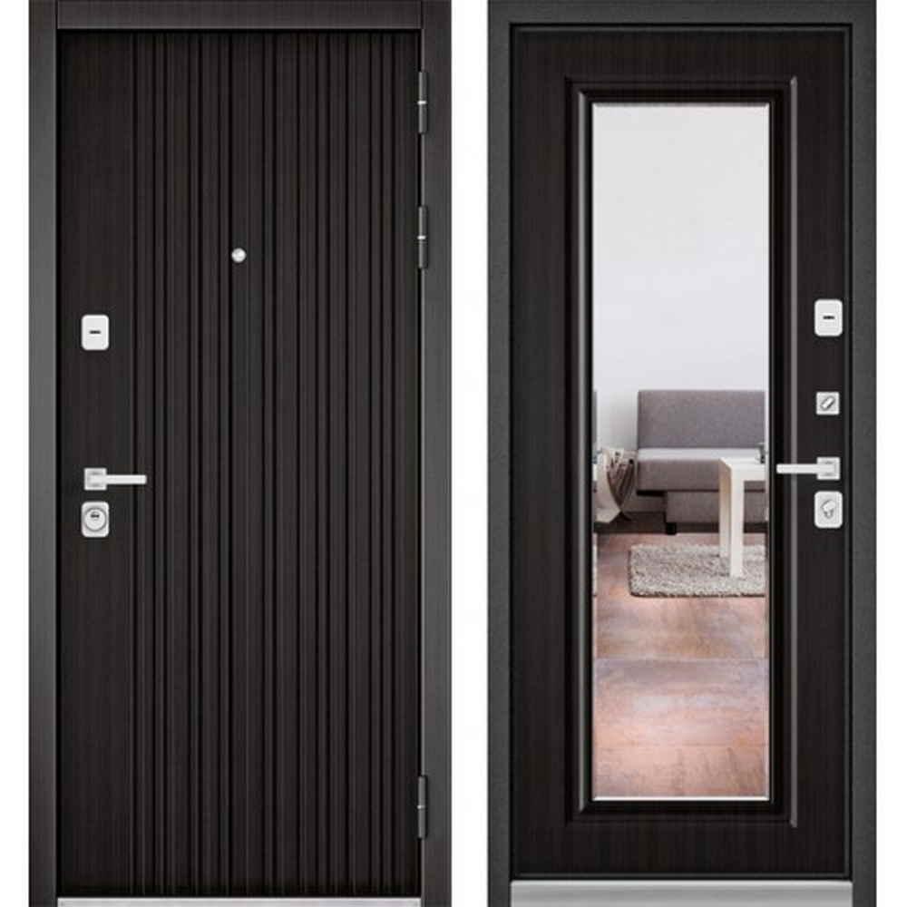 Входная дверь Бульдорс Premium 90 РР Ларче темный / Ларче темный-9S-140 (с зеркалом)