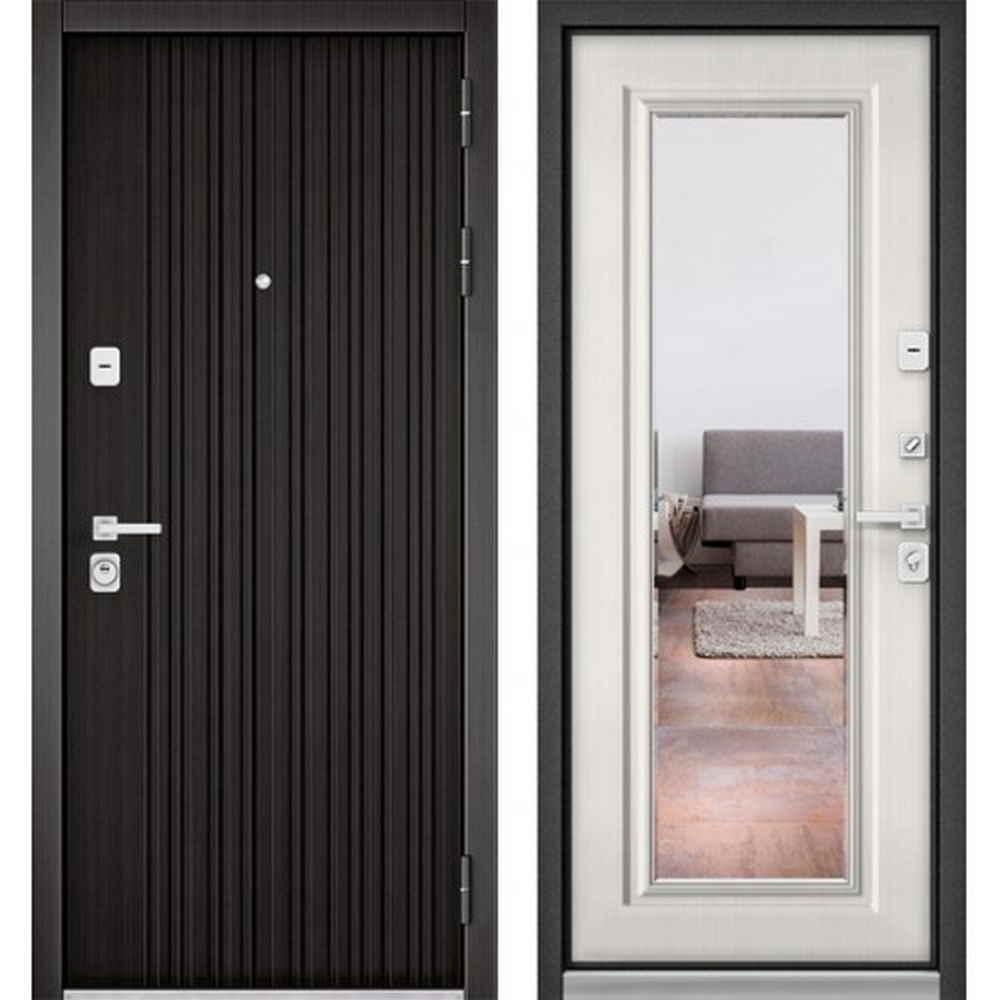 Входная дверь Бульдорс Premium 90 РР Ларче темный / Шамбори светлый-S-140 (с зеркалом)