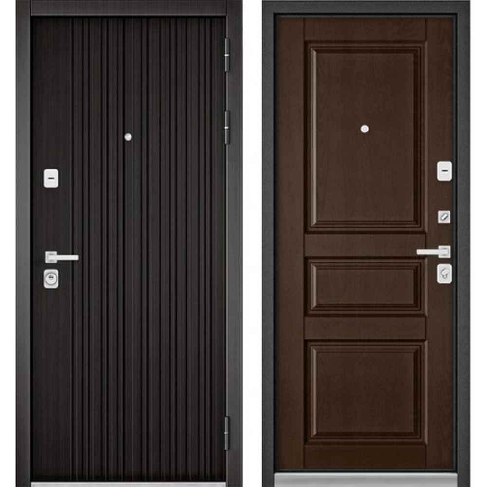 Входная дверь Бульдорс Premium 90 РР Ларче темный / Дуб коньяк 9РD (Трехконтурные)