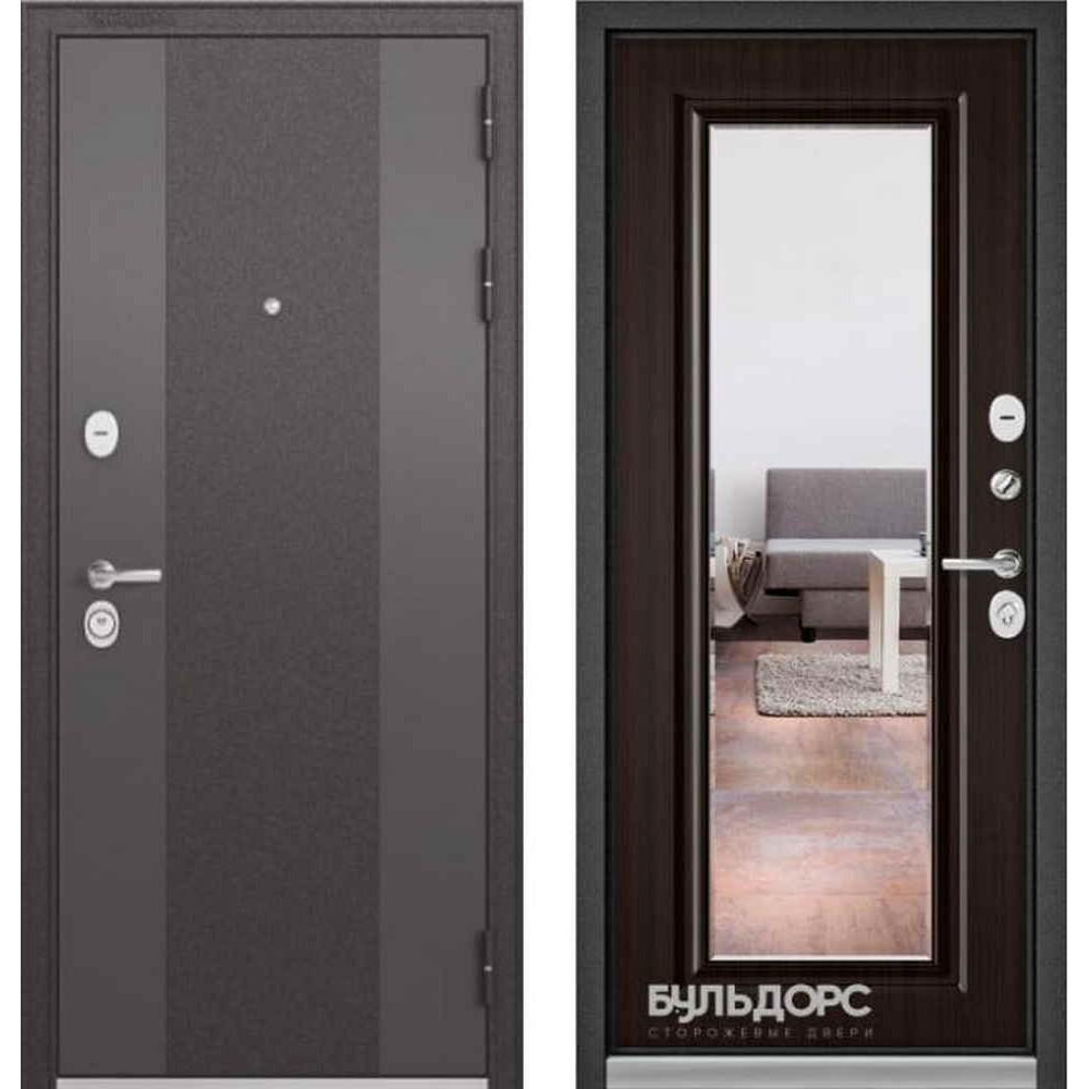 Входная дверь Бульдорс Standart 90 9К-4 Ларче шоколад (с зеркалом)