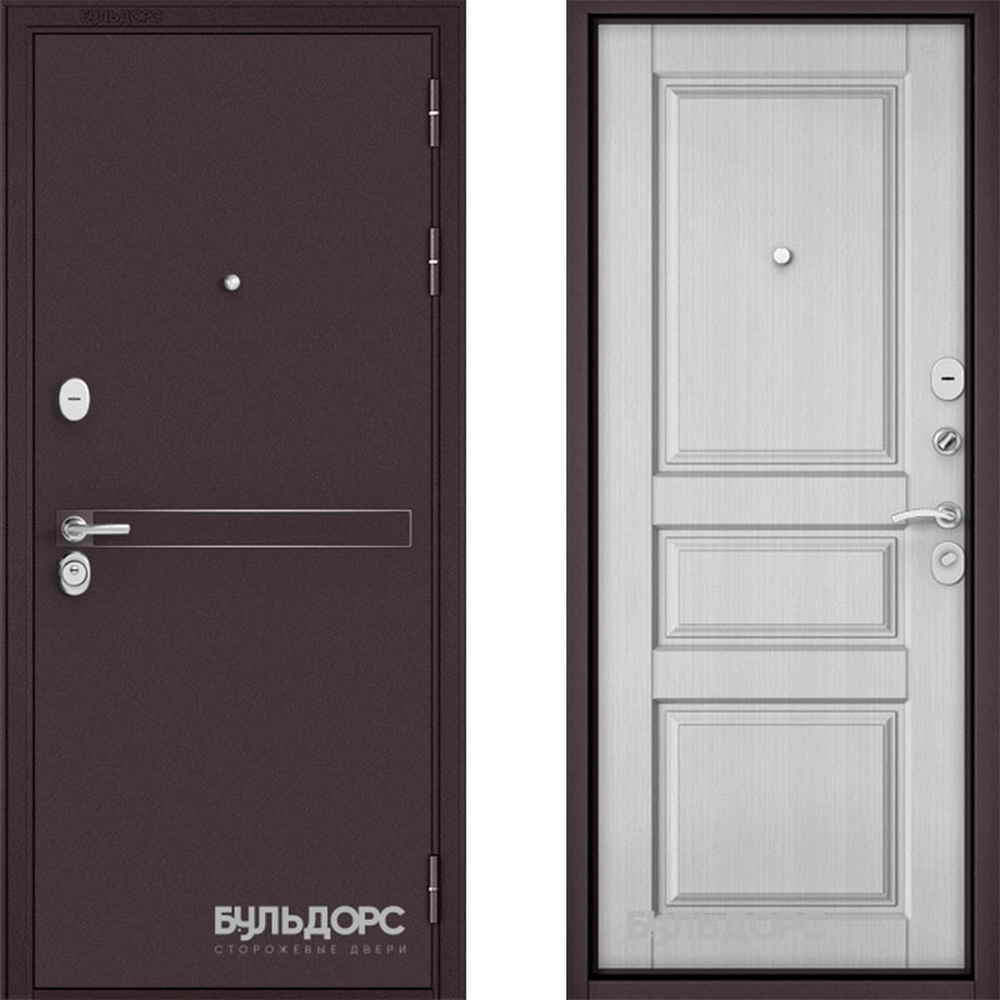 Входная дверь Бульдорс Standart 90 D-4 Ларче белый (Трехконтурные)
