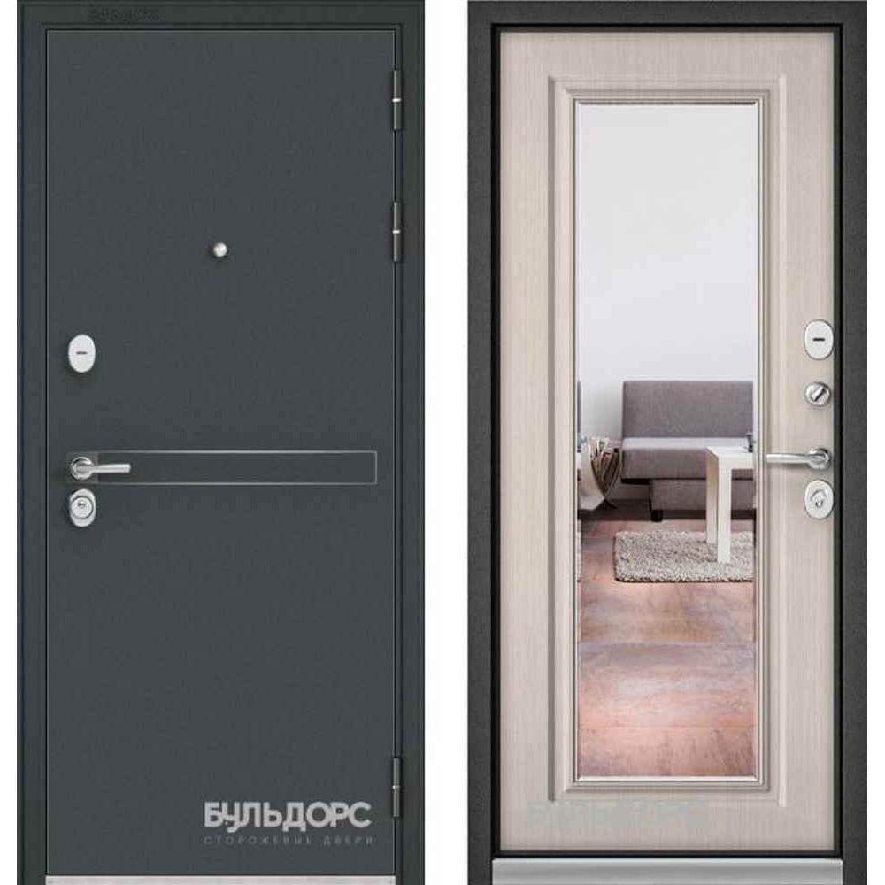 Входная дверь Бульдорс Standart 90 D-4 Ларче бьянко 9S-111 (с зеркалом)