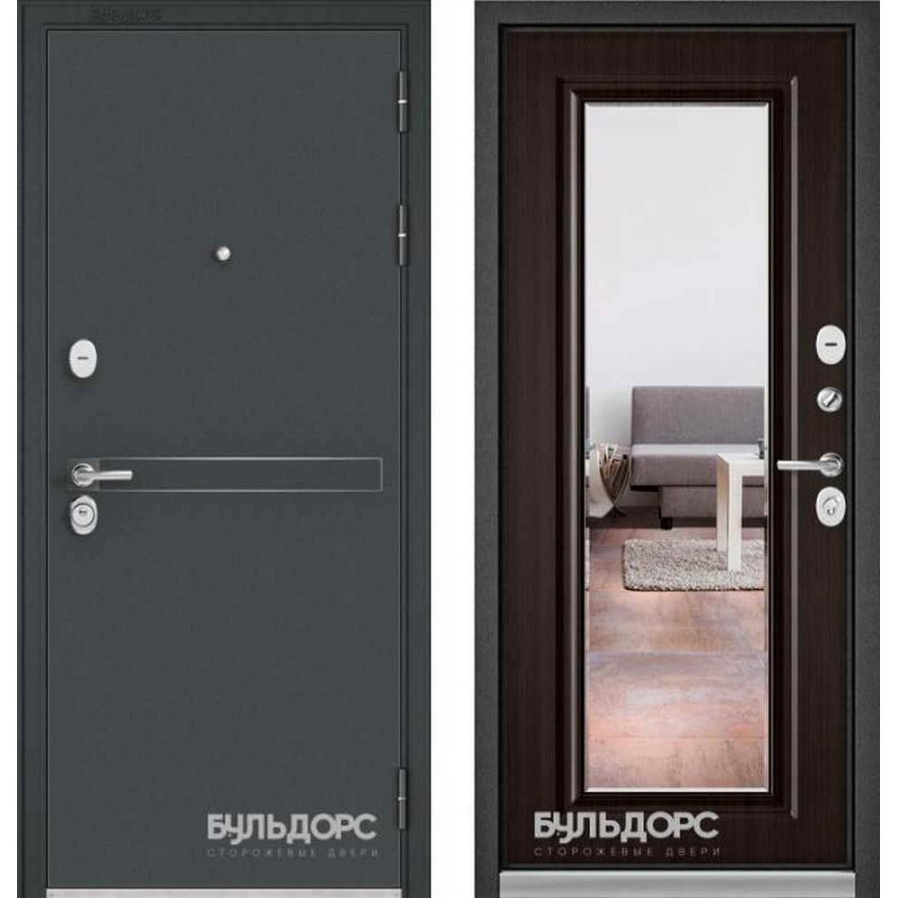 Входная дверь Бульдорс Standart 90 D-4 Ларче шоколад 9S-140 (с зеркалом)