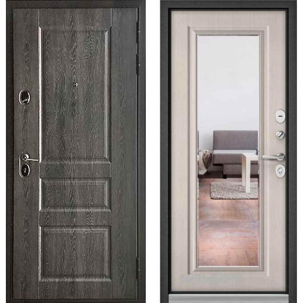 Входная дверь Бульдорс Standart 90 Дуб графит 9SD-2 / Ларче бьянко (с зеркалом)