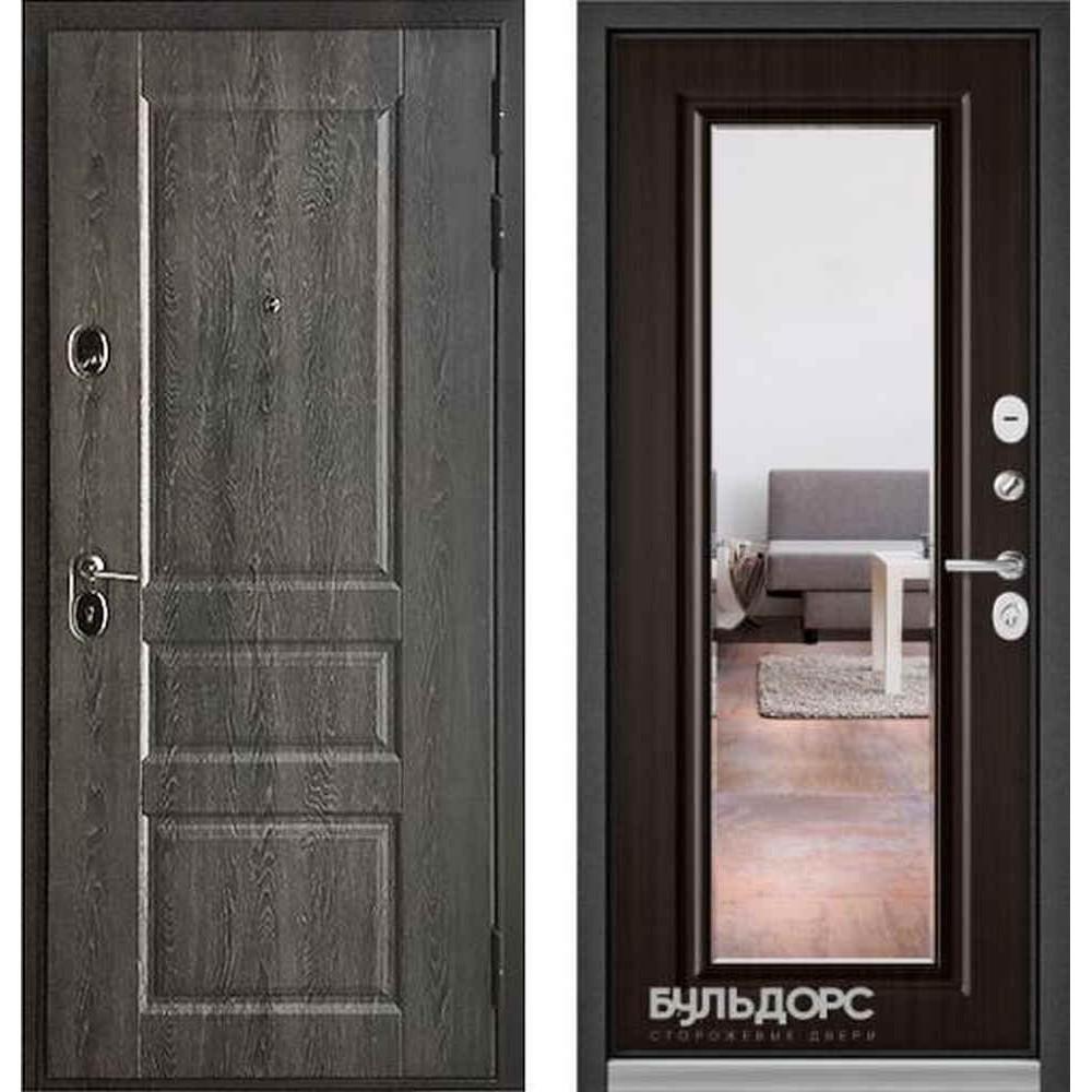 Входная дверь Бульдорс Standart 90 Дуб графит 9SD-2 / Ларче шоколад (с зеркалом)