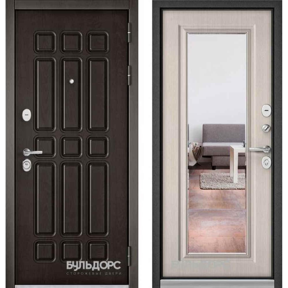 Входная дверь Бульдорс Standart 90 Дуб шоколад / Ларче бьянко 9S-140  (с зеркалом)