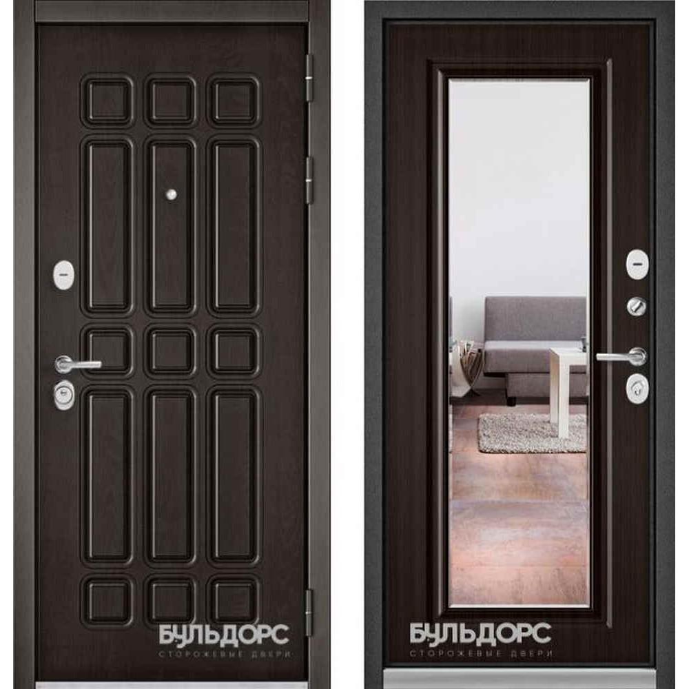 Входная дверь Бульдорс Standart 90 Дуб шоколад / Ларче шоколад 9S-140 (с зеркалом)