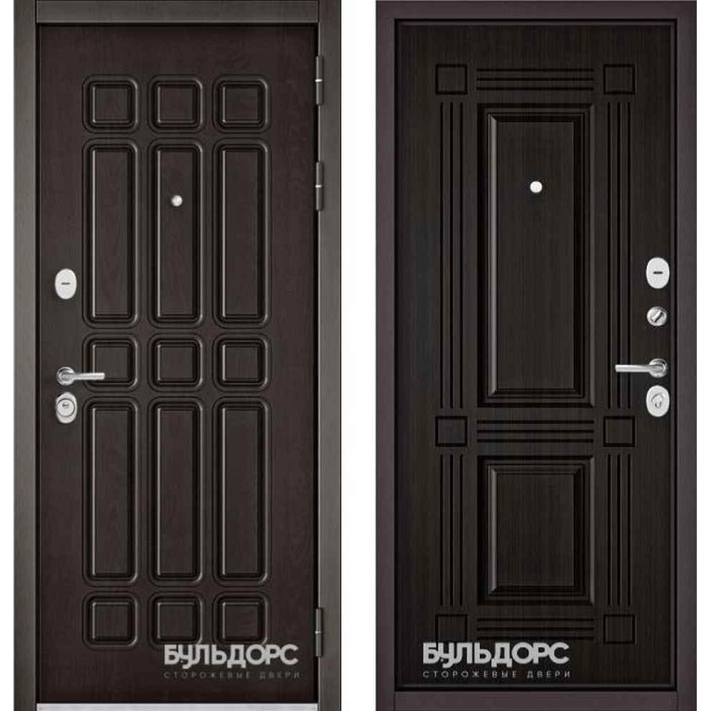 Входная дверь Бульдорс Standart 90 Дуб шоколад / Ларче темный 9S-104 (с шумоизоляцией)