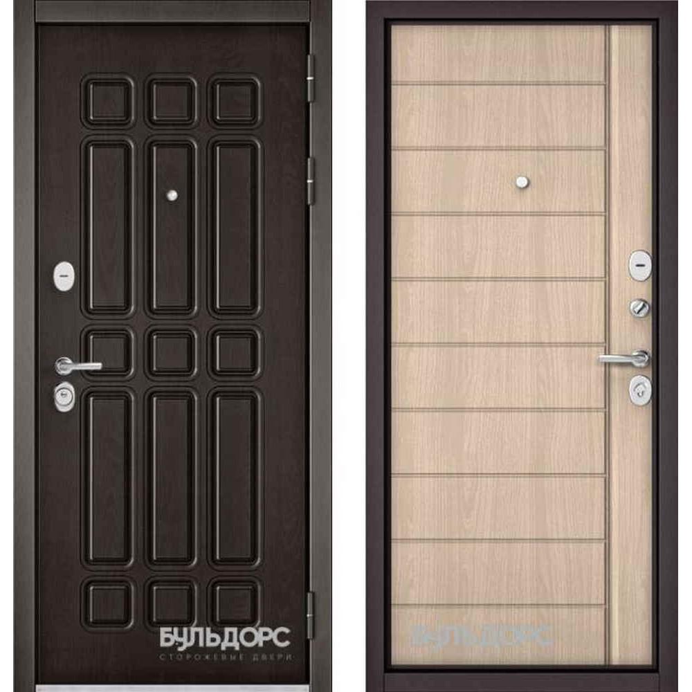 Входная дверь Бульдорс Standart 90 Дуб шоколад / Ясень ривьера крем (с шумоизоляцией)