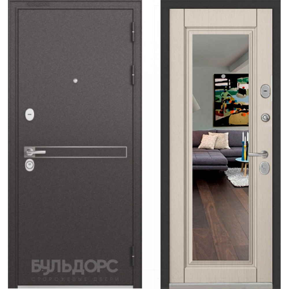 Входная дверь Бульдорс Standart 90 Ларче бьянко (с зеркалом)