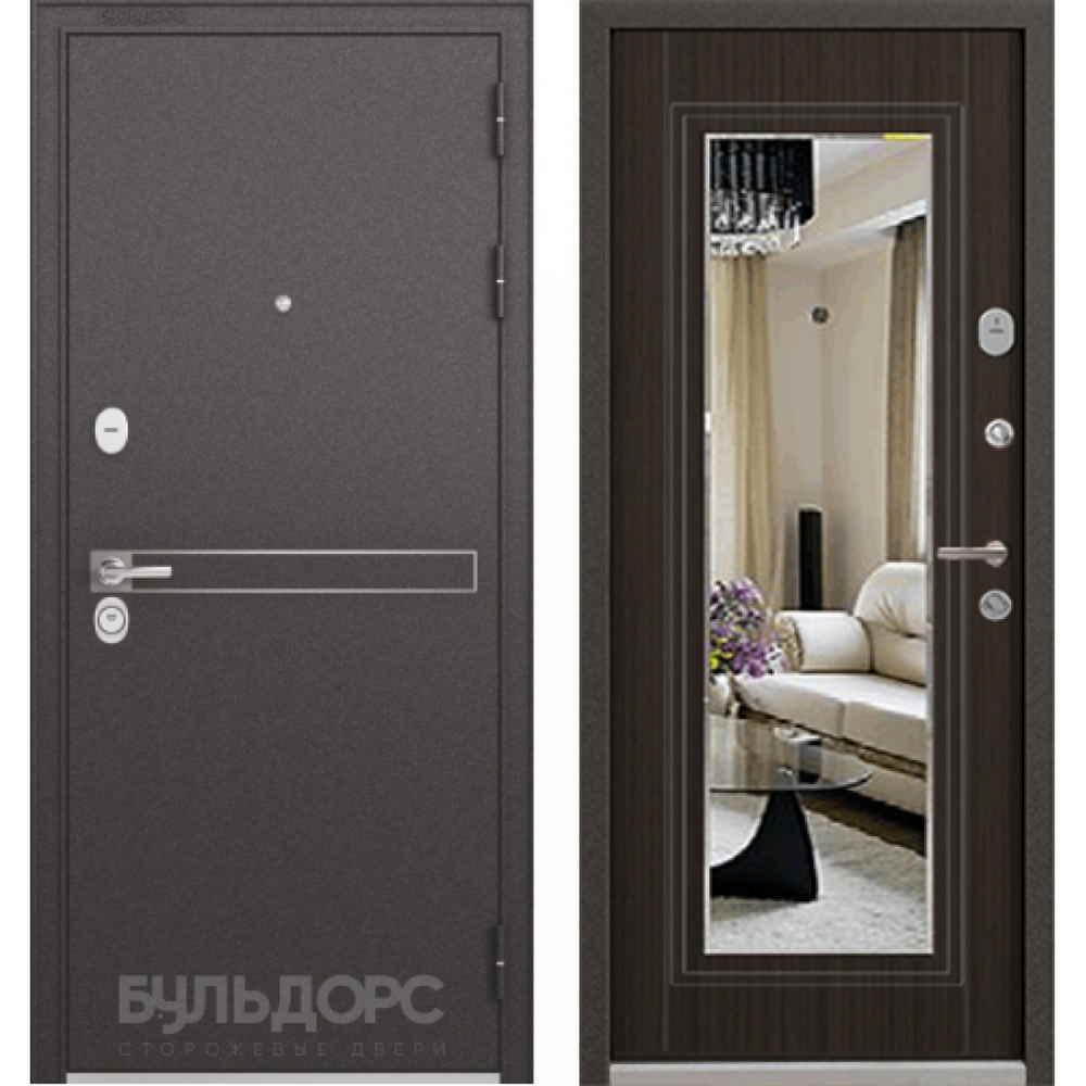 Входная дверь Бульдорс Standart 90 Ларче шоколад (с зеркалом)
